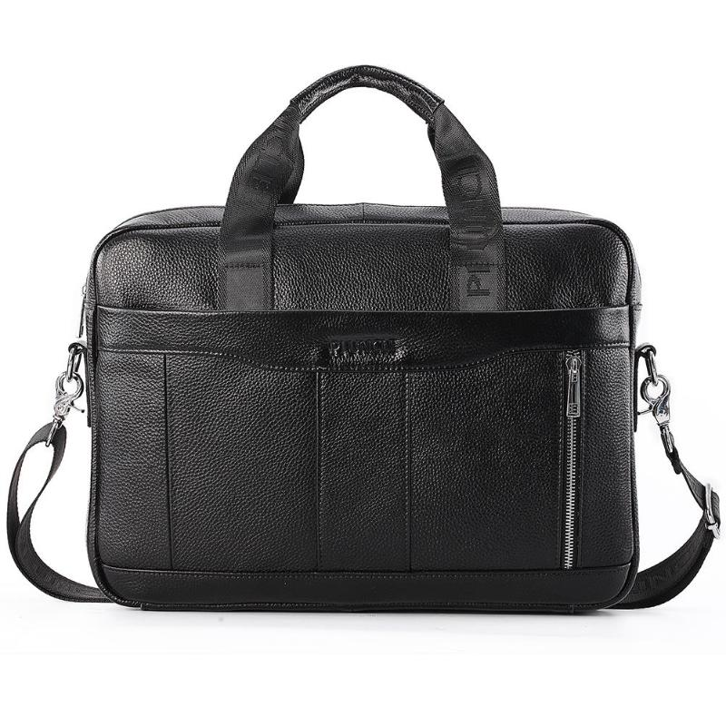 Genuine Leather Men Briefcase Laptop Shoulder Crossbody Bag Office Handbag