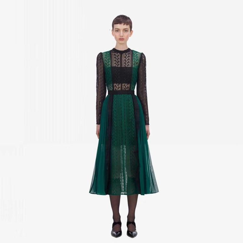 Luxe piste Designer auto Portrait robe 2019 automne mode dentelle épissure évider longue robe femmes partie nuit Femme Vestido - 2