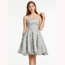 Dressv серое элегантное Дешевое платье для вечеринок с милым вырезом и бусинами Короткое мини платье для выпускного вечера