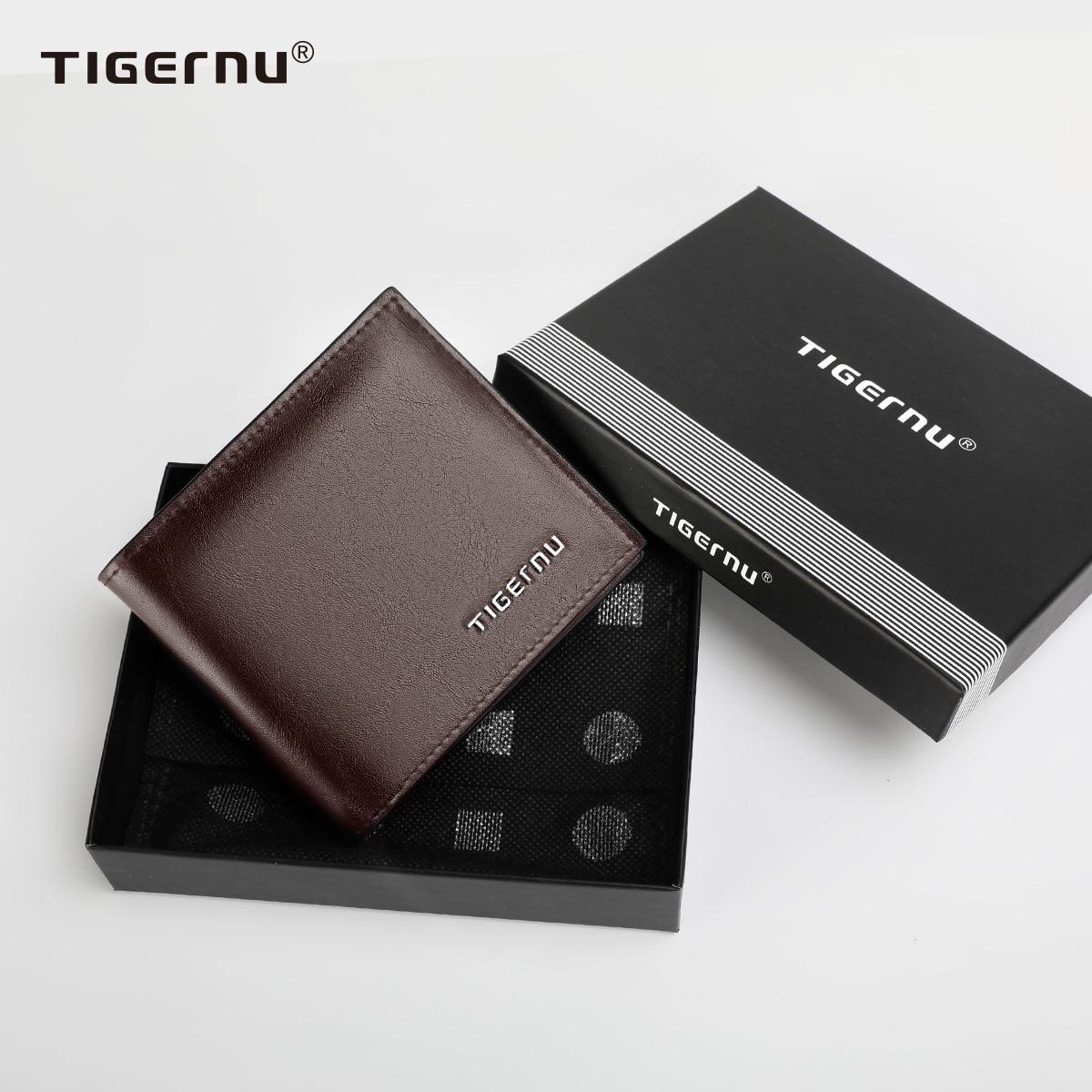 Tigernu-billeteras cortas de cuero PU para hombre, carteras masculinas de Negocios RFID, monedero marrón y negro, tarjetero de alta calidad, nuevas