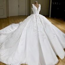 Trajes de novia árabes largo vestido de fiesta vestidos de novia vestido de novia Dubai vestidos de novia pliegues enorme tren encaje corsé