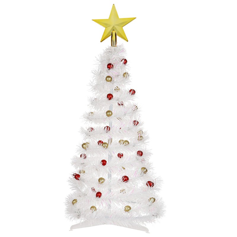 DIY Christmas Tree Foldable Christmas Tree Gifts White Xmas Trees With Ball Star Christmas Decoration New Year's