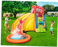 3.66x3.37m 3 4 Child Inflatable Water Pool Slide with Water Sprinker Outdoor Summer Fun Family Inflatable Water Park for Kids