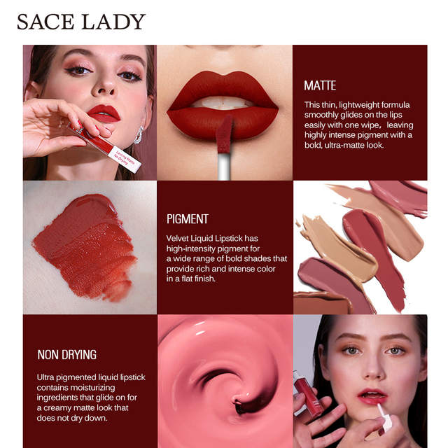 SACE LADY Long Lasting Lipstick Make Up Matte Liquid Lip Stick Non Drying Makeup Nude Red Pigment Waterproof 23 Colors Cosmetic 3