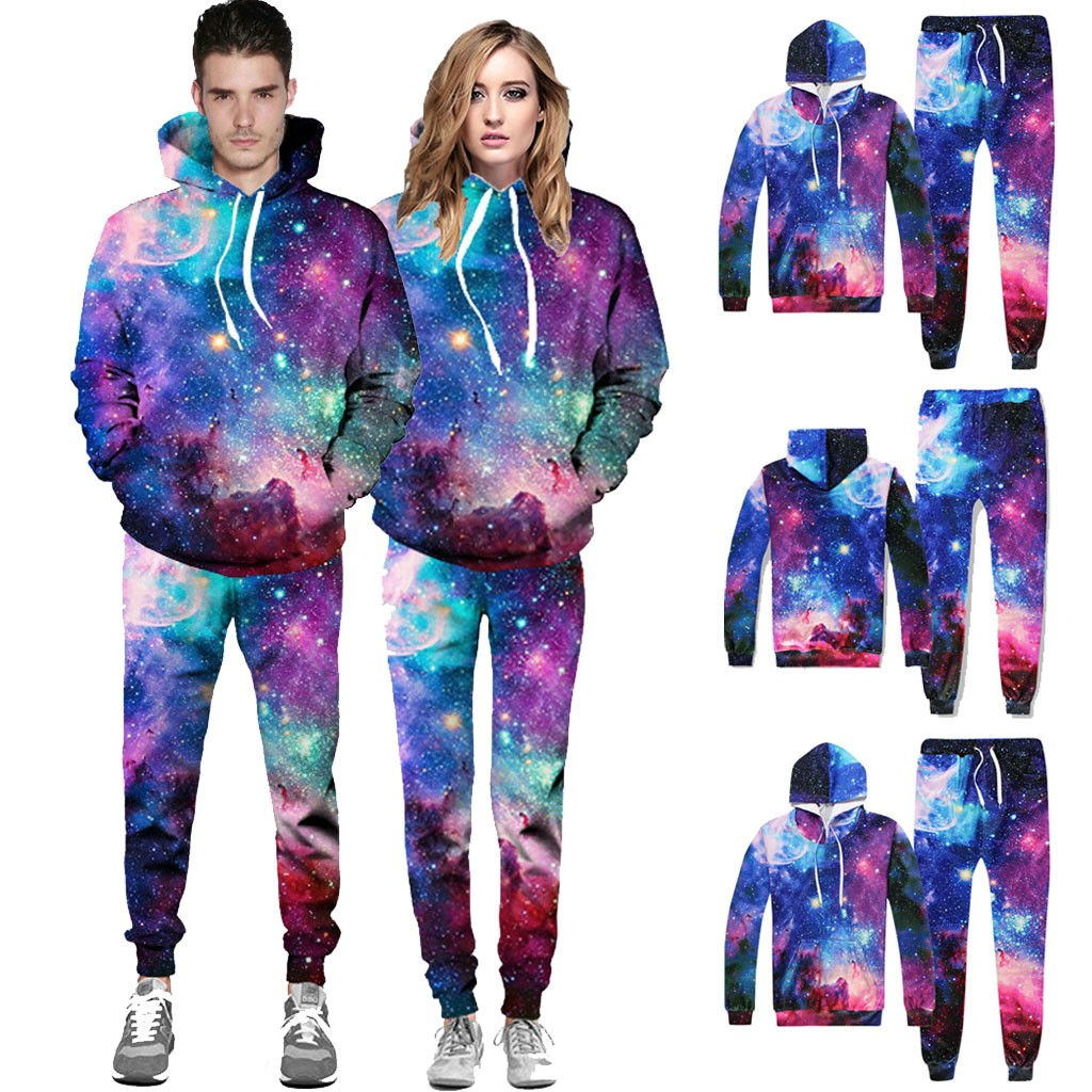 Hommes univers 3D impression à capuche galaxie à capuche hauts pantalons ensembles Sport costume survêtement 3dprintedsweat art bébé couverture décontracté
