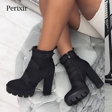 Perixir Plattform Stiefeletten Frauen 12cm Starke Ferse Plattform Stiefel Mode Damen Herbst Winter Arbeiter Schuhe Schwarz Große Größe 36 43