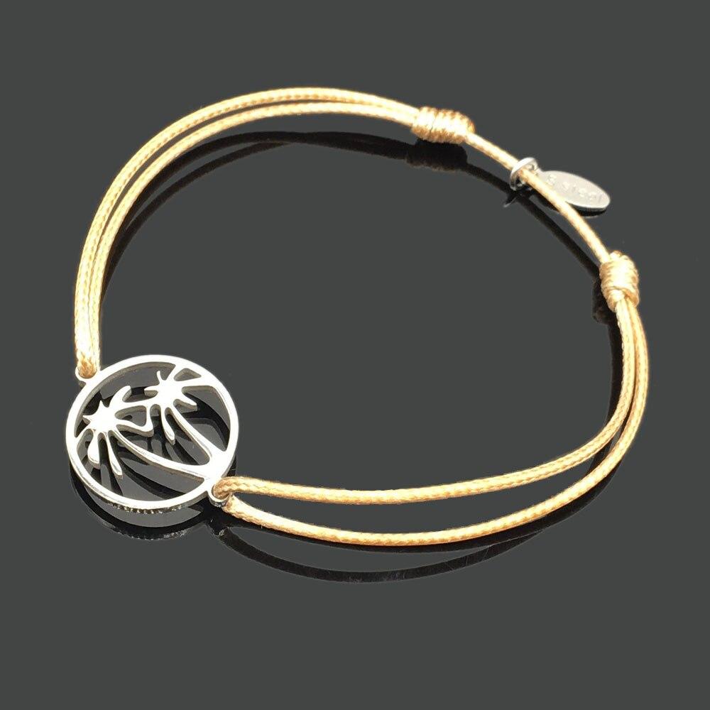 2 шт браслет желаний из нержавеющей стали, регулируемый шнур, хороший браслет, приносящий удачу, красный браслет дружбы - Окраска металла: stainless cocos tree