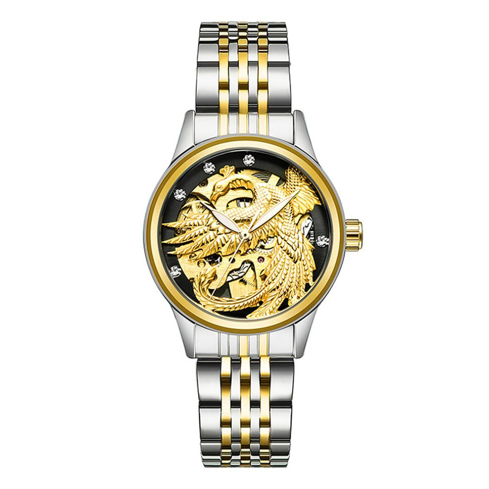 TEVISE Waterproof Automatic Mechanical Watch Ladies Dragon And Phoenix Couple Mechanical Luminous Watch