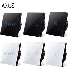 AXUS AC110-220V Touch Switch EU Standard White Crystal Glass Panel Light sensory Switch wall lamp touch Switches LED backlight