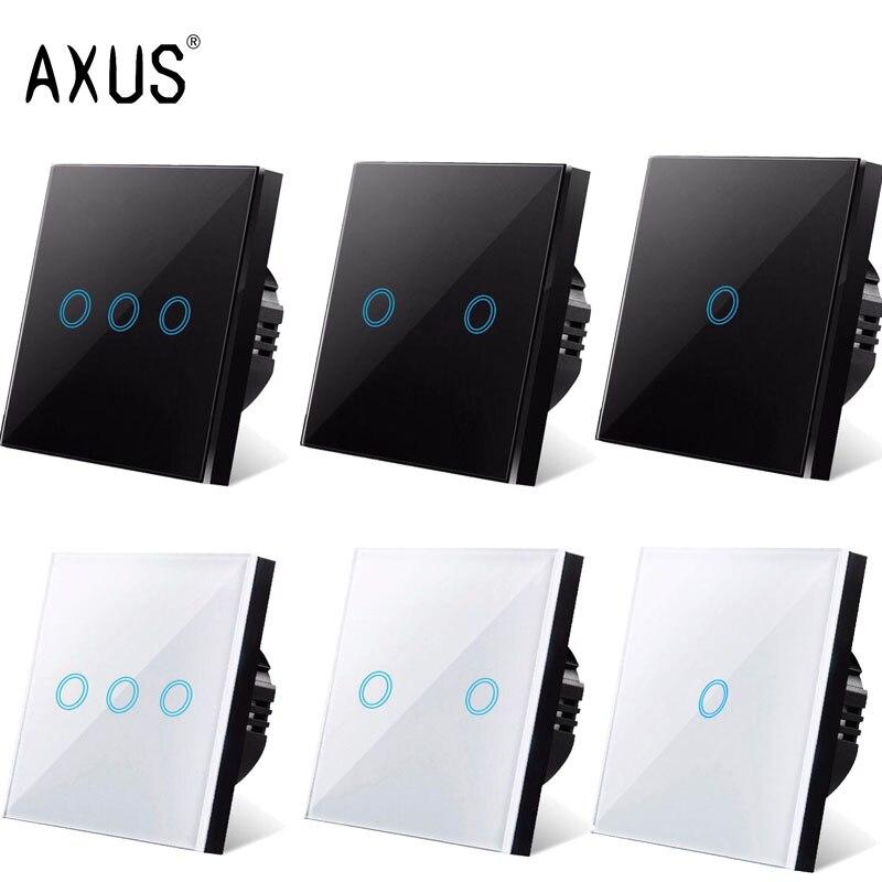 AXUS AC220V Touch Schalter EU Standard Weiß Kristall Glas Panel Licht sensorischen Schalter wand lampe touch Smart Switches led-hintergrundbeleuchtung