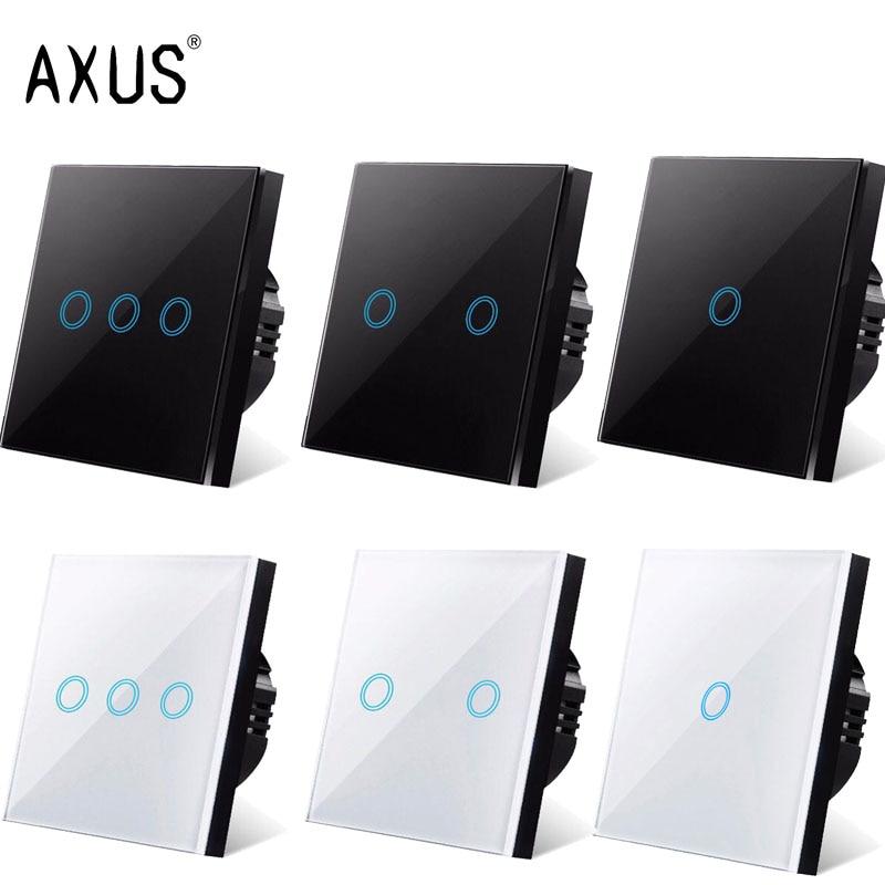 Axus ac220v interruptor de toque padrão da ue painel vidro cristal branco luz sensorial interruptor da lâmpada parede toque interruptores inteligentes led backlight
