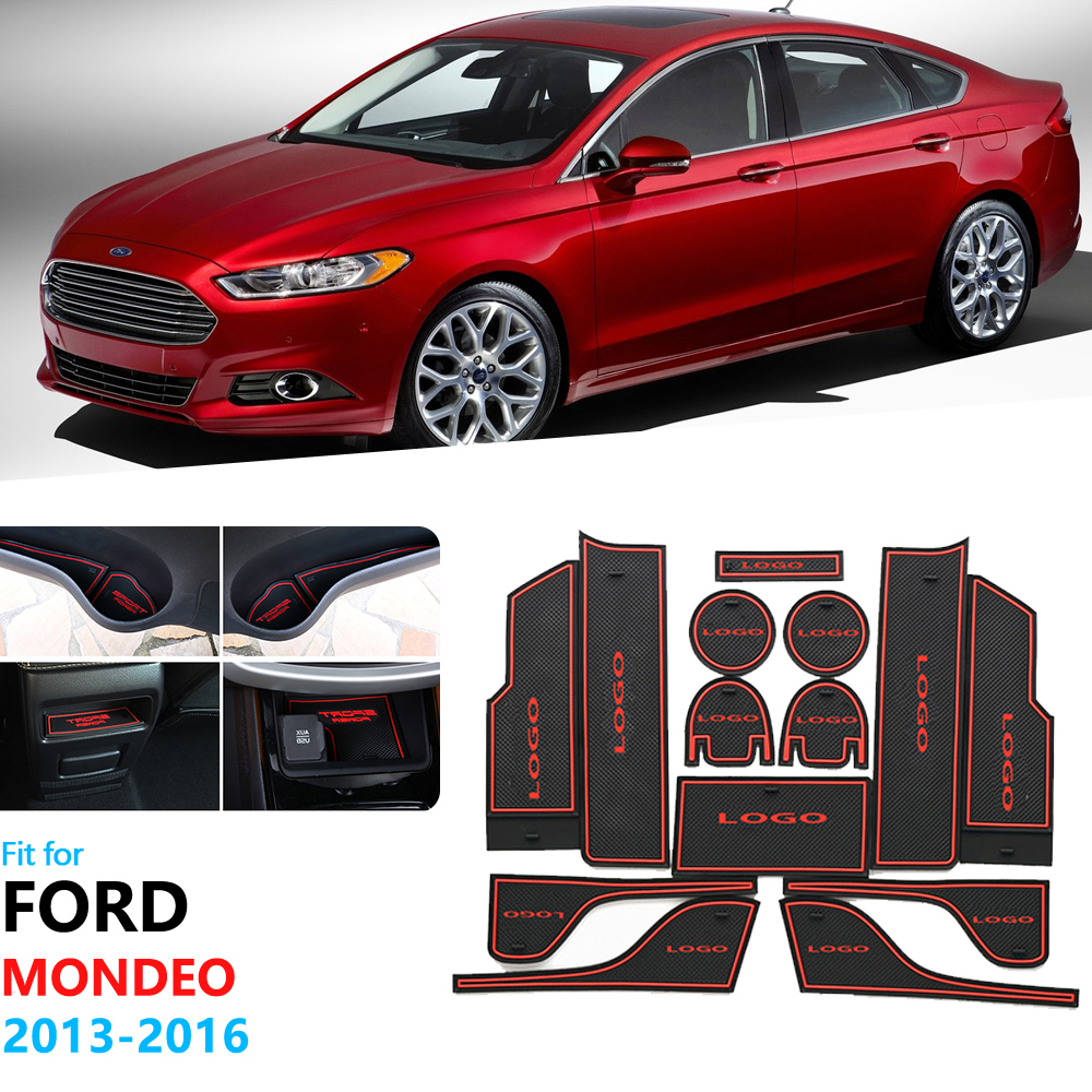 Anti-Slip Rubber Gate Slot Cup Mat For Ford Mondeo Fusion 2013 2014 2015 2016 Door Groove Mat Car Styling Coaster Cup Cushion