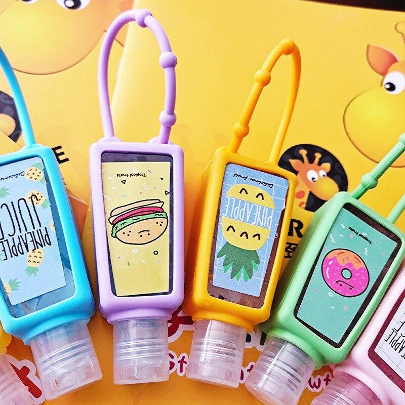 Alcohol Hand Sanitizer Bottle 30ML Cartoon Clean Disposable Travel Quick Dry Portable Detachable Sanitizer Silicone Empty Bottle