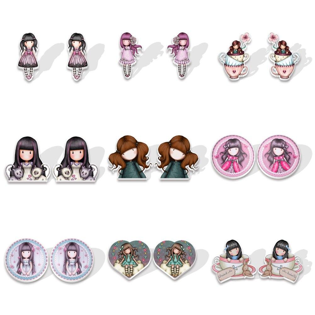Милые Мультяшные серьги-гвоздики для девочек, Подарочные ювелирные изделия, аксессуары
