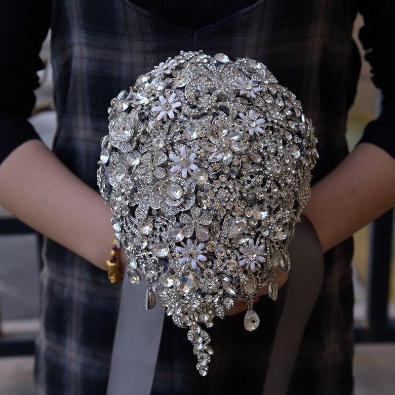 Mariée demoiselle d'honneur Bouquet Rose gouttes strass couches larmes Bouquet argent broche Bouquet accessoires de mariage bijoux Bo