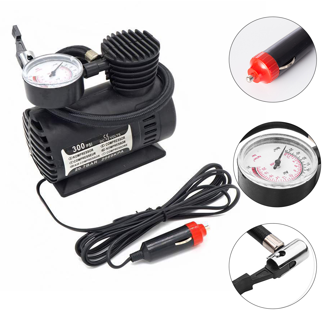 <font><b>300</b></font> <font><b>PSI</b></font> Car Tire Inflator Auto Air Compressor Portable Digital Tire <font><b>Pump</b></font> with Pressure Gauge for Car Bicycle Ball Rubber Dinghy image