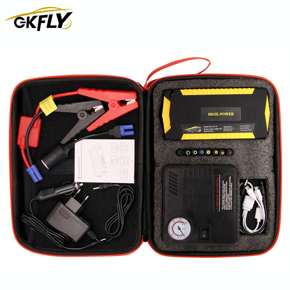 GKFLY Starting Device 12V Portable Jump Starter Air Compressor Pump Car Charger For Petrol Diesel Car Emergency Booster Buster