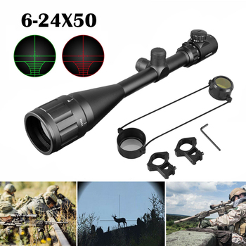 Tactical Riflescope 6-24X50 AOE Red Green Illuminated Crosshair Rifle Scope Optical Sight Hunting Scopes tactical 6 24x50 optic rifle scope ergonomic parallax adjustment ring and integral sun shade for hunting gs1 0150