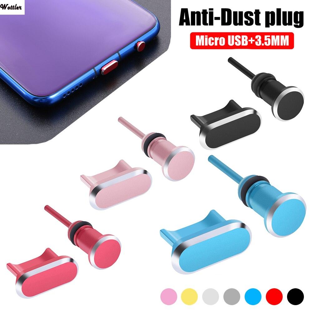 Universal micro usb porto de carregamento 3.5mm fone ouvido jack metal plug poeira universal para android telefone fone de ouvido bujão porto