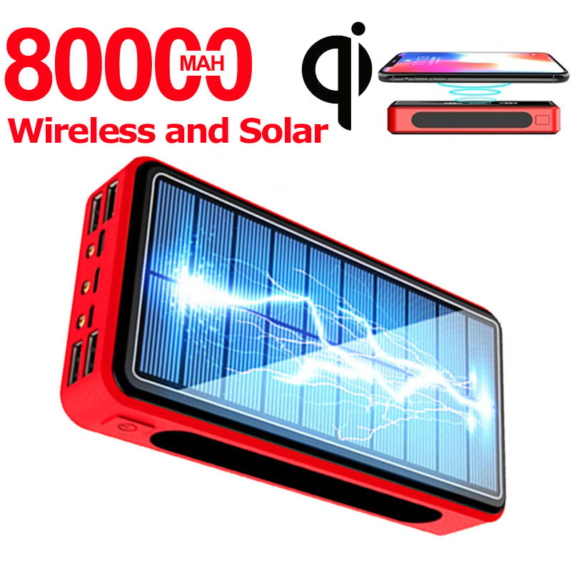 Wireless Power Bank 80000mAh Solar Powerbank 4 USB Portable External Battery Charger Pack PoverBank For Xiaomi Samsung IPhone