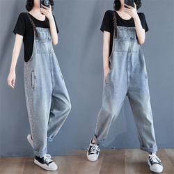 Women High Waist Denim Overalls Baggy Vintage Long Jumpsuit Plus Size Casual Playsuit Female Rompers Chic Daily