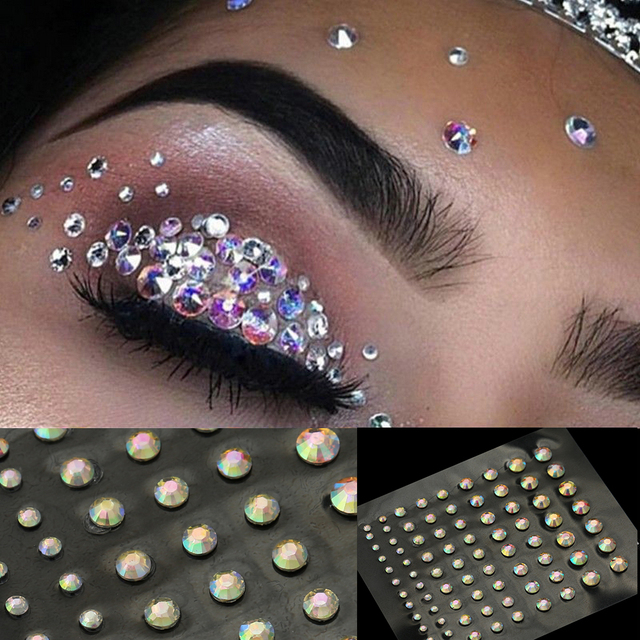 2020 Fashion Women Tattoo Diamond Makeup Eyeliner Eyeshadow Face Sticker Jewel Eyes Makeup Crystal Eyes Sticker 2