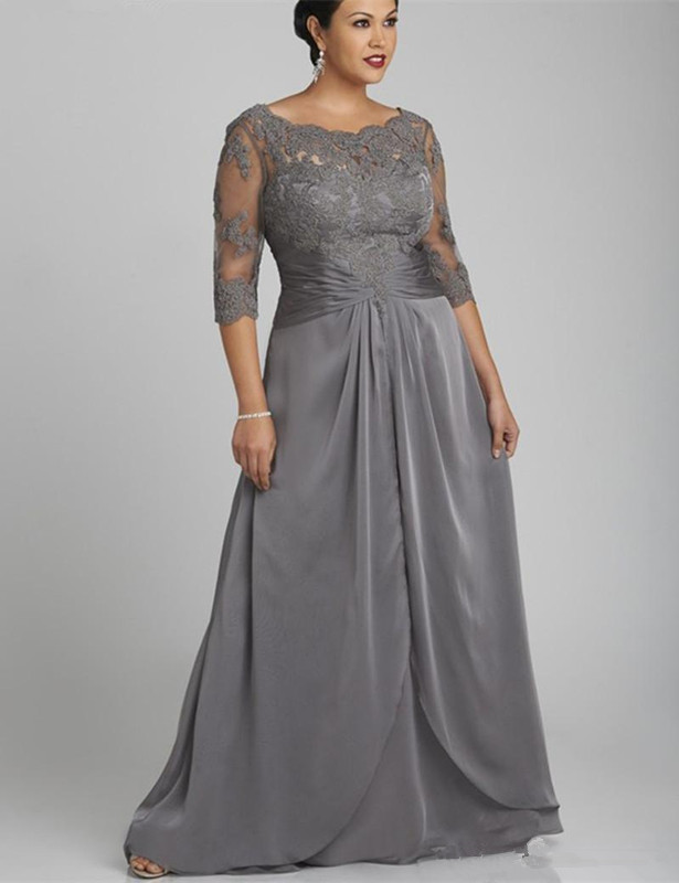 Gray Mother Of The Bride Dresses A-line Half Sleeves Chiffon Lace Plus Size Long Groom Mother Dresses For Wedding