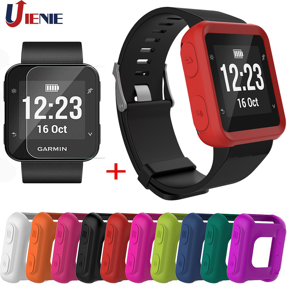 For Garmin Forerunner 35 Protector Case Silicone Skin Cover+Tempered Film Smart Watch Bracelet Protection Cases Accessories