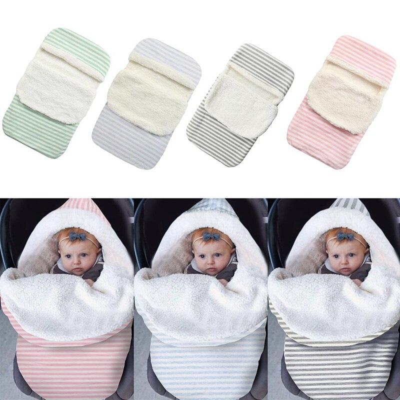 2020 Winter Striped Thicken Sleeping Swaddle Toddler Solid Warm Velvet Stroller Newborns Sleeping Bag Soft Envelope For Newborns