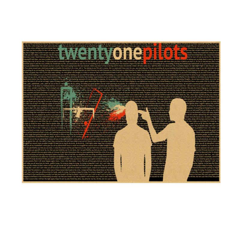 Panas Dua Puluh Satu Pilot Poster. Vintage Retro Rock Band Musik Gitar Matte Antik Kraft Kertas Poster Stiker Dinding