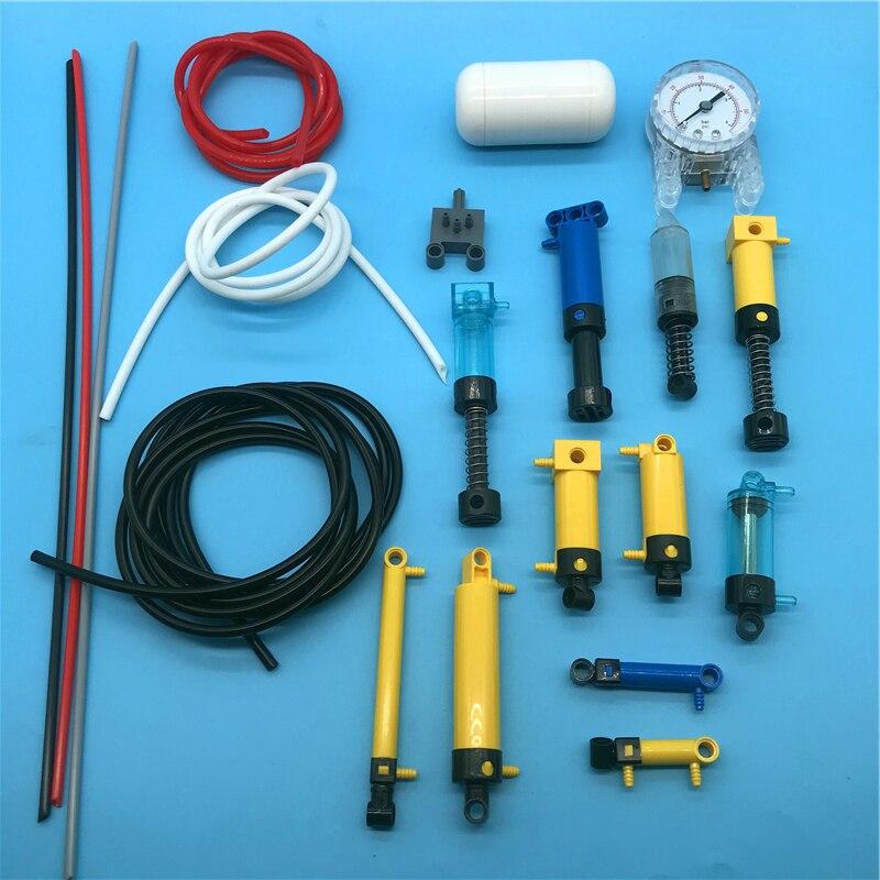 Technology building block pneumatic pump switch air tank hollow pipe pneumatic pipe pressure gauge 19476 19475 19478 19482 47225