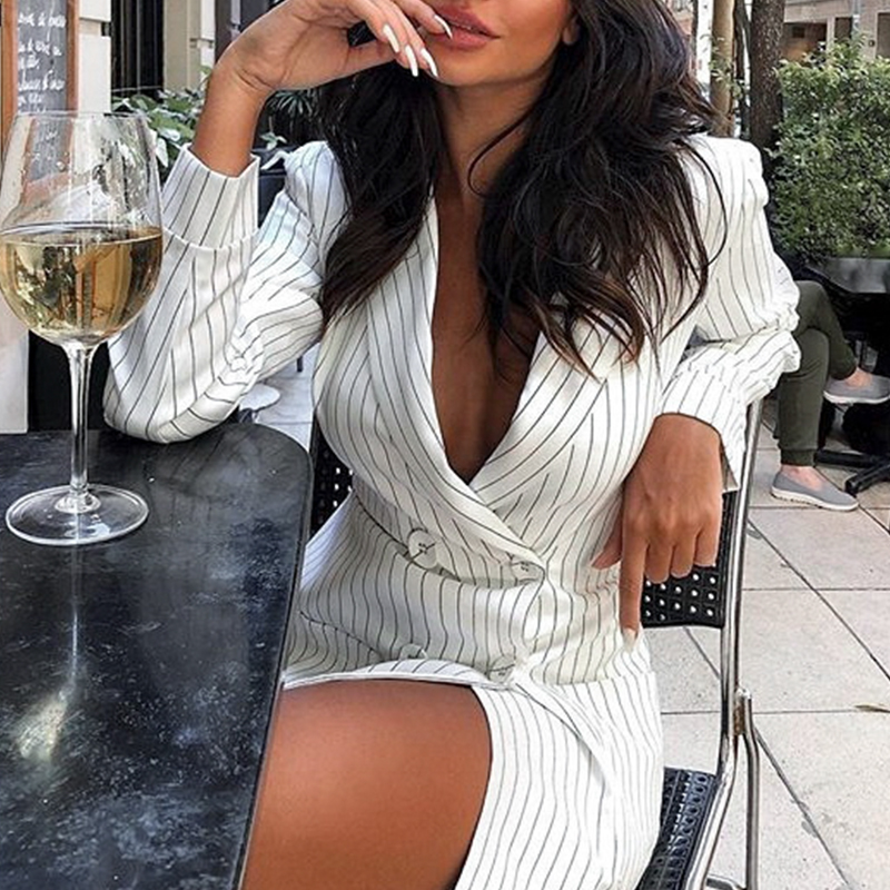 Conmoto Autumn Winter 2019 Women Elegant Blazers Pocket Tripe White Blazer Coats Button High Fashion Long Blazers Dress Outwear