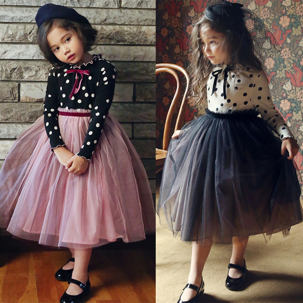 3-8 Years Autumn Dress For Girls Flower Lace Long Sleeve Backless Tulle Dresses Wedding Party Princess Bridesmaid  Formal Gown 1