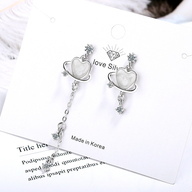 Trendy Pendientes 925 Sterling Silver Asymmetric Heart Zircon Dream Planet Drop Earrings for Women Long Tassel.jpg 640x640 - 925 Sterling Silver Asymmetric Heart Zircon Dream Planet Drop Earrings