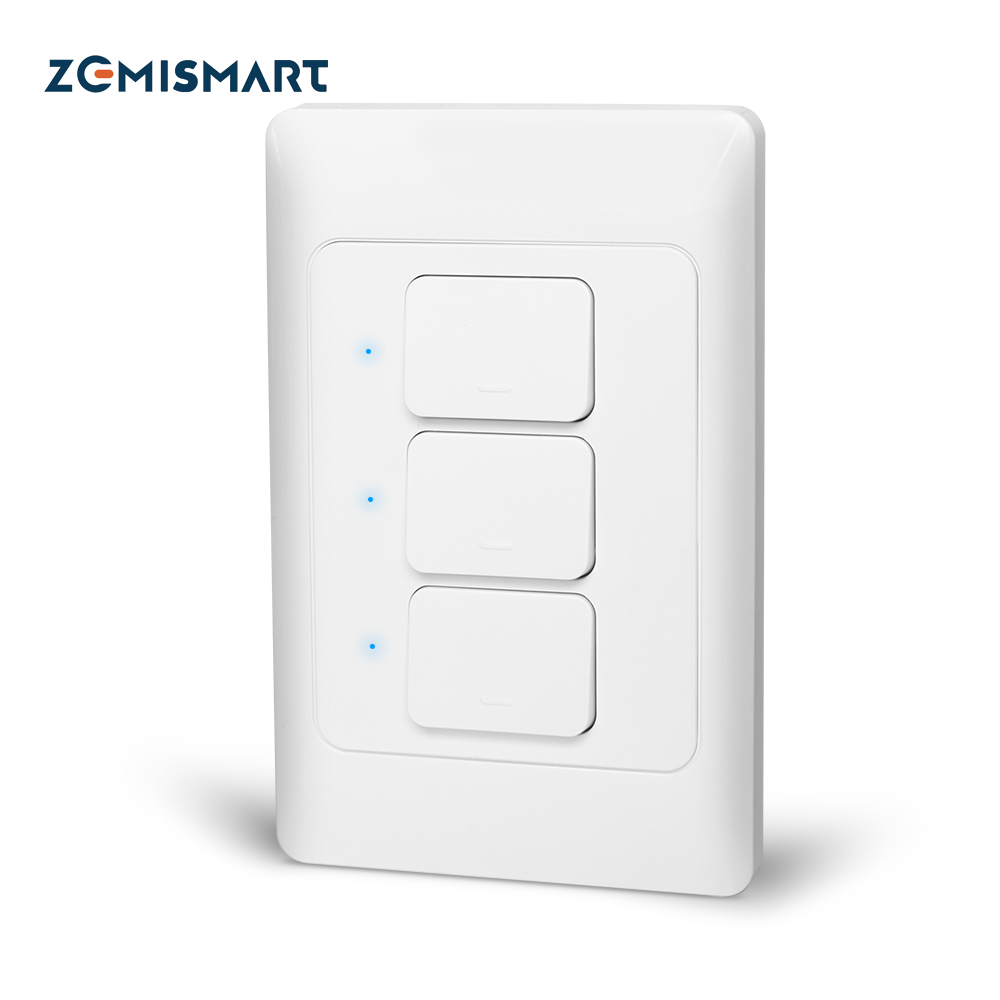 Zemismart New Design Zigbee 3.0 Push Light Switch SmartThings Control US AU  Physical Wall Switches