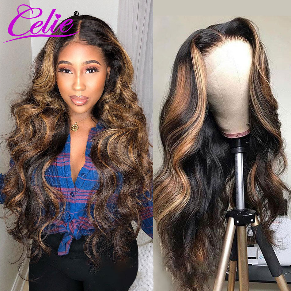 Celiehair Highlight Wig Human Hair Body Wave Honey Blonde Lace Front Wigs Ombre Brown Highlight Wig Red Colored Human Hair Wigs