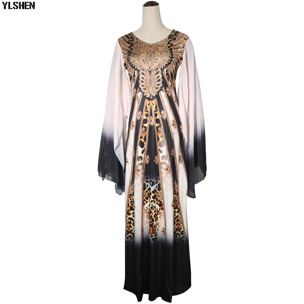 New African Dresses for Women Dashiki Print African Clothes Bazin Riche Sexy Slim Ruffle Sleeve Long Africa Maxi Dress Woman 33