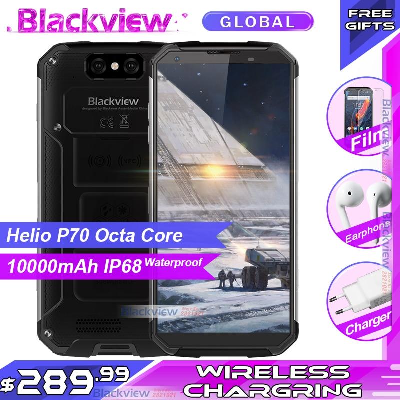 Blackview BV9500 plus téléphone portable Helio P70 Octa Core 5.7 écran Android 9.0 10000mAh 4GB 64GB IP68 Smartphone étanche