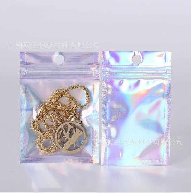 20pcs Laser Metallic Mylar Zip lock Bags Clear Aluminum Foil Zip lock Plastic Pouch Moisture Proof Food Storage Bags