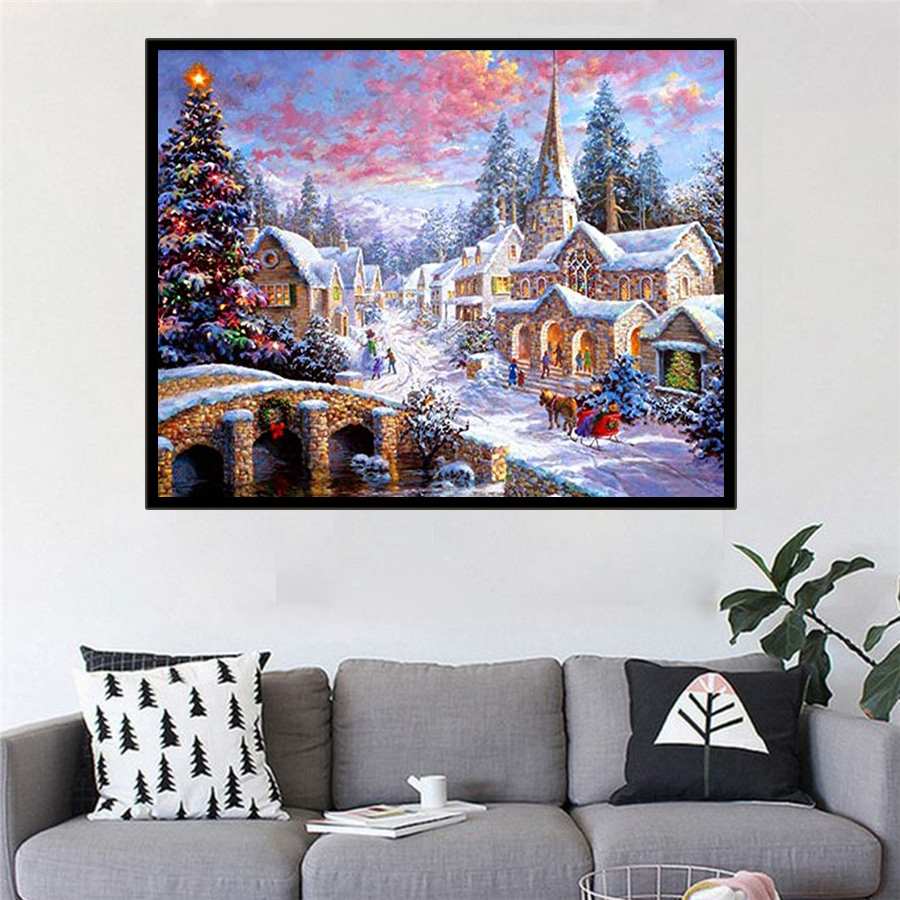 5D Diamond Painting Small Town In The Snow Full Diy Drill Home Decor Cross Stitch Kits Gift Diamond Mosaic Diamond Embroidery image