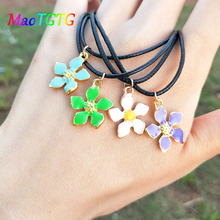 Fashionable Flower Pendant Necklace For Women Colorful Flower Charms Collar Choker Necklace Women Jewelry Wholesale chic dry flower necklace for women
