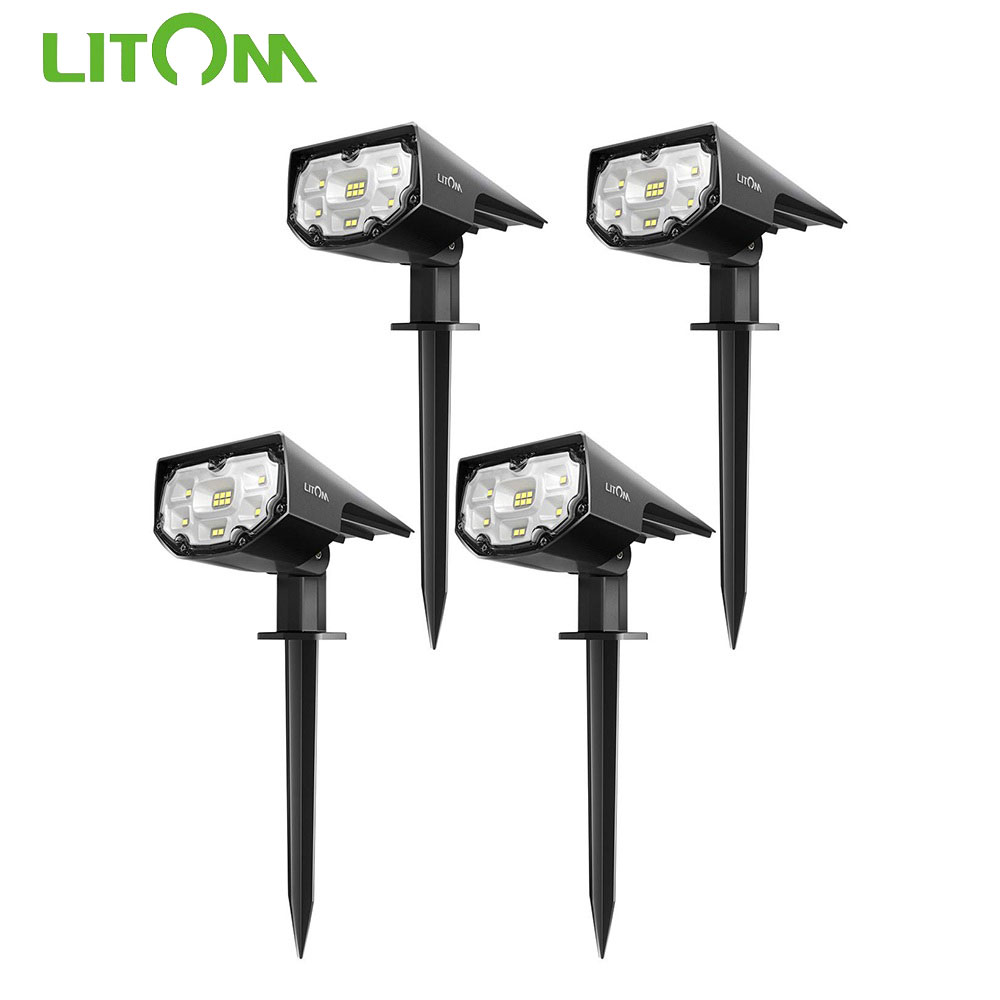 4 Pack Litom CD190 12 LED Solar Powered Lawn Light IP67 Waterproof 2 Light Mode Solar Light For Yard Wall Outdoor Garden Lights
