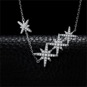 Image 2 - JewelryPalace Star CZ Sterling Silver Pendant Necklace 925 Sterling Silver Chain Choker Statement Collar Necklace Women 45cm