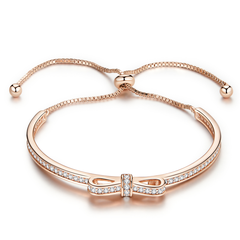 Image 2 - WOSTU New Arrival 925 Sterling Silver Sparkling Bowknot Chain Adjustable Bracelet Bangle For Women S925 Jewelry Gift CQB108Chain & Link Bracelets   -