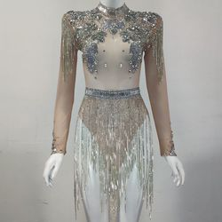 Shining Big Crystals Mesh Sexy Bodysuit Sparkly Rhinestone Fringes Party Nightclub Outfit Singer Stage Performance Dance Costume