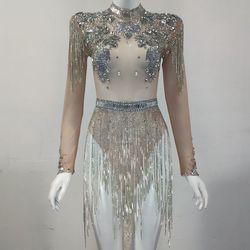 Shining Grote Kristallen Mesh Sexy Bodysuit Sparkly Rhinestone Franje Partij Nachtclub Outfit Singer Stadium Prestaties Dans Kostuum
