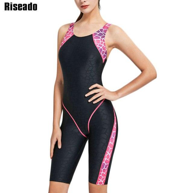 Riseado New Sport One Piece Swimsuit Patchwork Competitive Swimwear Women Racer Back Bathing Suit 2020 Boyleg Swimming Bodysuit