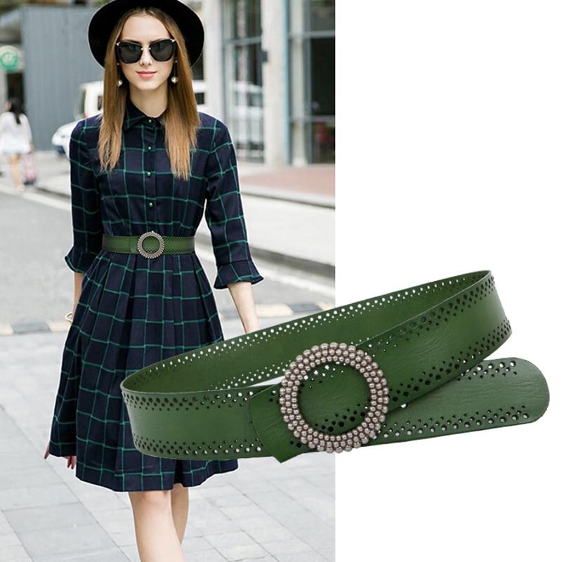 Cinturon Mujer Designer Belts Women High Quality Genuine Leather Belts For Women Fashion Green Brown Belt Wide Femme Luxury Big