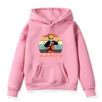 Sudadera de Anime de Naruto para niños pequeños, ropa con estampado de diseño japonés a la moda para niñas, sudadera con capucha de otoño e invierno, sudaderas de lana para niños