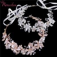 Elegant Silver Gold Rhinestones Long Bridal Wedding Flower Hair Vine Headband Fresh water Pearls Headdress Headpiece RE3535